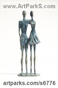 Bronze Couples or Group sculpture by sculptor Sara Ingleby-MacKenzie titled: 'Still Cool (Bronze Teenage Young Couple/Lovers sculptures/statues)'