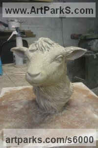 Cold cast bronze Sheep, Goats Ewes, Rams, Tups, Lambs, Wether, Sculptures or Statues sculpture by Sara Ross titled: 'Lamb Portrait (Cold Cast bronze resin sheep Head Bust statuettes)'