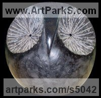 Black Granite Birds of Prey / Raptors sculpture by Sava C Marian titled: 'HIBOU (abstract Owl sculptures in Carved Black marble)'