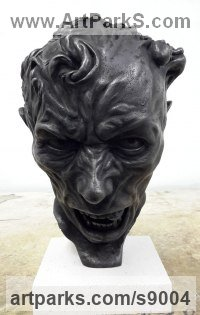 Bronze Human Form: Abstract sculpture by Scott Shore titled: 'An Unquiet Mind (Grotesque and Anguished Head statue)'