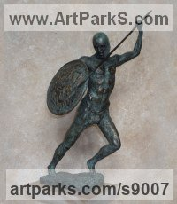 Bronze Military, Soldiers, Sailors, Marines Airmen and Military Equipment sculpture by Scott Shore titled: 'Corinthian With Shield (Small nude Greek Warrior statue)'