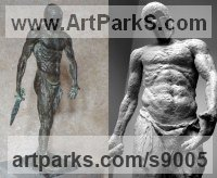Bronze Nudes / Male sculpture by Scott Shore titled: 'Corinthian With Sword (Classical nude Warrior statues)'