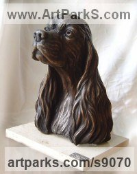 Bronze Dogs sculpture by Scott Shore titled: 'Dog Portrait (Bronze Spaniel Life Commission sculpture)'