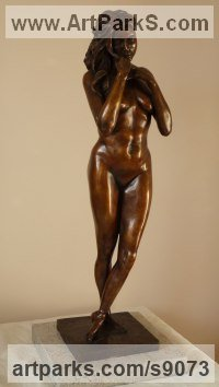 Bronze Lifelike Realistic Human sculpture by Scott Shore titled: 'nude Repose (Small Naked Girl Standing Dreaming statue)'