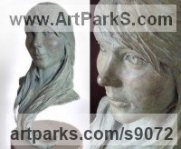 Bronze Classical Style Sculptures and Statues sculpture by Scott Shore titled: 'Portrait (Bronze Girl`s Head Bust Commission sculpture)'