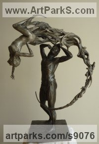 Bronze Arte Nouveau Style sculpture by Scott Shore titled: 'Remanents of A Woman (Small Naked Lovers sculptures)'