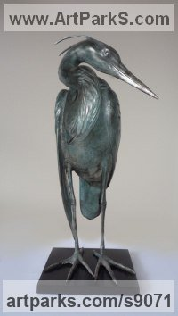 Bronze Wild Bird sculpture by Scott Shore titled: 'The Blue Heron (Little Water Bird Wader sculpture)'