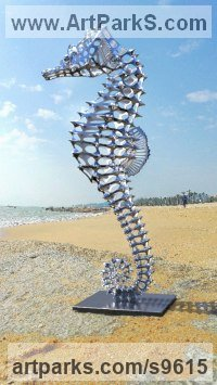 Stainless Steel Other Aquatic Creatures Seahorse Star Fish Jellyfish Sea Urchins Sculptures Statues sculpture by Sebastian Novaky titled: 'Hippocampus (stainless Steel Sea Horse statues)'