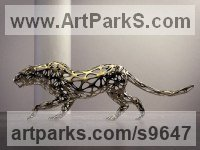 Stainless Steel Cats Wild and Big Cats sculpture by Sebastian Novaky titled: 'Leopard (Lifesize stainless Steel Wire statue)'