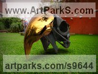 Stainless Steel&Bronze Wild Bird sculpture by Sebastian Novaky titled: 'Silence 2 (Big Macaw/Bird Skull metal sculpture)'
