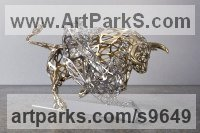 Stainless Steel Cattle, Kine, Cows, Bulls, Buffalos, Bullocks, Heifers, Calves, Oxen, Bison, Aurocks, Yacks sculpture by Sebastian Novaky titled: 'Instinct 1 (stainless Steel Lion Fighting Bull statue)'