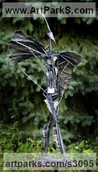 Casted Bronze and Stainless Steel Mythical sculpture by Semion Rabinkov titled: 'Icarus (Semi abstract bronze and stainless Steel statue sculpture)'