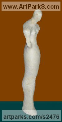 Gypsum Females Women Girls Ladies sculpture statuettes figurines sculpture by sculptor Senol Podayva titled: 'HITITIAN (Contemporary Naive abstract Minimalist female Woman statue)'
