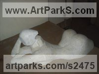 Gypsum Figurative Abstract Modern or Contemporary sculpture statuary statuettes figurines sculpture by sculptor Senol Podayva titled: 'Sun Bathing (abstract Minimalist Contemporary nude Girl/female statue)'