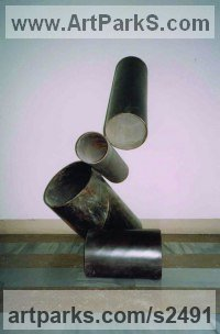 Iron Abstract Modern Contemporary Avant Garde sculpture statuettes figurines statuary both Indoor Or outside sculpture by sculptor Senol Podayva titled: 'TUBEONTUBE'