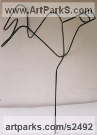 Metal Wire(Mesh Netting Chicken) Metal Rod or Bar or Tube sculpture by sculptor Senol Podayva titled: 'WIREBIRD (Metai Wire abstract Contemporary Delicate Indoor Bird statue)'