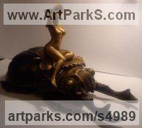 Bronze Females Women Girls Ladies Sculptures Statues statuettes figurines sculpture by Sergey Antonenko titled: 'Casket Bug (miniature nude Girl Beetle statuette)'