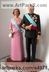 Polistoun Portrait Sculptures / Commission or Bespoke or Customised sculpture by Sergey Antonenko titled: 'King and Queen (MIniature King and Queen statuettes/statues)'