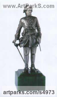 Silver Hyperrealistic sculpture by Sergey Antonenko titled: 'Peter I (Peter the Great Miniature Silver statuette)'
