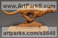 Wood:ash Bolivian Carved Wood sculpture by Sergey Chechenov titled: 'Hunting (Cheetah Carved Wood Running Chasing statue)'