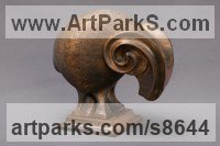 Wood: Linden Stylized Animals sculpture by Sergey Chechenov titled: 'Ram (Minimalist Carved Wood Contemporary statue)'