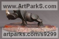 Bronze Rhino and Rhinoceros Hippo and Hippopotamus sculpture statue statuette sculpture by Sergey Chechenov titled: 'Rhino'