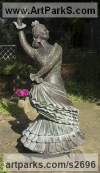 Figurative Public Art Sculpture by sculptor artist Sheila Mitchell titled: 'Flamenco Dancer' in Bronze