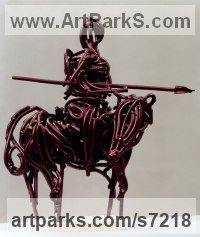 Rolled Iron Literary and Musical Characters sculpture by Shimon Drory titled: 'Don Quixote (Contemporary abstract Mounted on Rosinante statue statuette)'