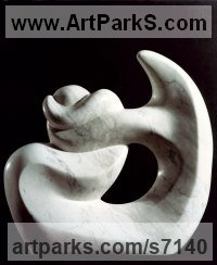 Carrara marble Pregnant and post Pregnant Women or Females sculpture by Shimon Drory titled: 'Navel String (Carved marble abstract Contemporary Modern statues)'