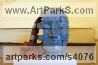 Brick Installation sculpture by Shivashtie Poonwassie titled: 'Head (Blue) 2010 (abstract Outsize Brick Head sculptures/statues)'