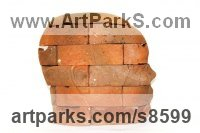 Brick Stylised Heads / Busts sculpture by Shivashtie Poonwassie titled: 'Perspective IV (pink)'