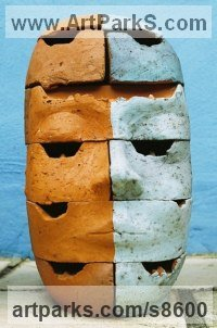 Brick Stylised Heads / Busts sculpture by Shivashtie Poonwassie titled: 'Perspective V (blue)'