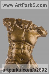 Bronze Classical Style Sculptures and sculpture by sculptor Shohini Ghosh titled: 'Torso (nude Muscular Fit Male Athlete/Gymnast sculpture or statuette)'
