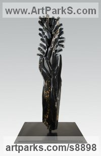 Black and Gold Portoro Marble Aspirational / Inspirational Sculptures or Statues sculpture by Simon Burns-Cox titled: 'FRANCE 1914 (Modern abstract Blasted Tree statue)'
