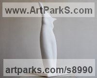Greek Marble Nude sculpture statue statuette Figurine Ornament sculpture by Simon Burns-Cox titled: 'Girl (Carved Understated Torso abstract statuette)'