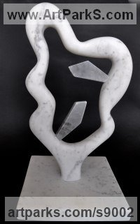 Marble Carved Stone, Marble, Alabaster, Soap Stone Granite Lime stone sculpture by Simon Burns-Cox titled: 'Love and War (Carved marble abstract Symbolic statue)'