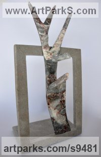 Marble Carved Abstract Contemporary Modern sculpture statue carving sculpture by Simon Burns-Cox titled: 'Room with a View (Carved Rectangular Stone statue)'