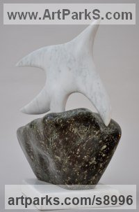 Marble and Polyphant Small bird sculpture by Simon Burns-Cox titled: 'Soaring (abstract Understated marble Bird statue)'