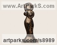 Black and Gold Portoro Marble Carved or Carving sculpture by Simon Burns-Cox titled: 'The Dream 3 (abstract nude female statuette)'