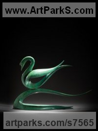 Bronze Minimalist Understated Abstract Contemporary Sculpture statuary statuettes sculpture by Simon Gudgeon titled: 'abstract Swan (Contemporary Bronze Swan sculptures)'