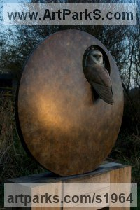 Bronze Wild Bird sculpture by Simon Gudgeon titled: 'Barn Owl (Bronze Nesting life size sculpture/statue)'