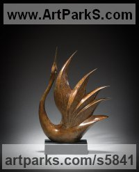 Bronze Animal Abstract Contemporary Modern Stylised Minimalist sculpture by Simon Gudgeon titled: 'Bird of Happiness 1 (Small abstract Bronze statues)'