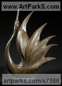 Bronze Abstract Contemporary or Modern Outdoor Outside Exterior Garden / Yard Sculptures Statues statuary sculpture by Simon Gudgeon titled: 'Bird of Happiness (abstract Stylised Contemporary Modern Yard statue)'