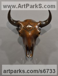 Bronze Animal Birds Fish Busts or Heads or Masks or Trophies For Sale or Commission sculpture by Simon Gudgeon titled: 'Bison Bronze Trophy (Head/Skull Wall Hanging statue)'