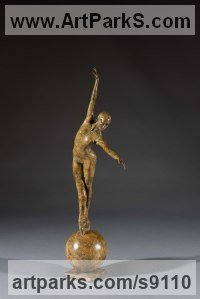 Bronze Dance Sculptures and Ballet sculpture by Simon Gudgeon titled: 'Boure� (Little Ballerina en points statuette statue)'