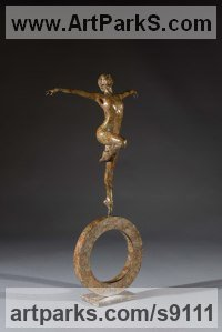 Bronze Abstract Dance / Dancer sculpture by Simon Gudgeon titled: 'Celeste Maquette (Naked Girl Dancer Bronze statuette)'