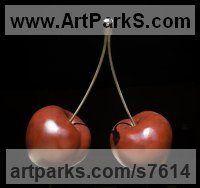 Bronze Fruit sculpture by Simon Gudgeon titled: 'Cherries (Pair Large Outsize Red bronze sculptures statues statuettes)'