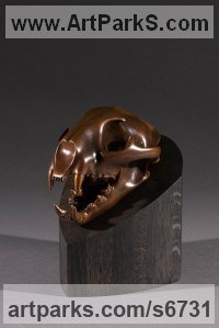 Bronze Cats Wild and Big Cats sculpture by Simon Gudgeon titled: 'Cougar (Bronze Wild Cat Trophy Head/Skull statuette)'