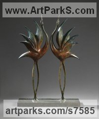 Bronze Abstract Contemporary or Modern Outdoor Outside Exterior Garden / Yard Sculptures Statues statuary sculpture by Simon Gudgeon titled: 'Dancing Cranes1 (bronze Semi abstract Contemporary garden statues)'