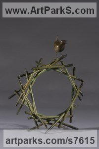 Bronze Small bird sculpture by Simon Gudgeon titled: 'Green Tunnel (bronze Life-size Wren and abstract Nest statue sculpture)'